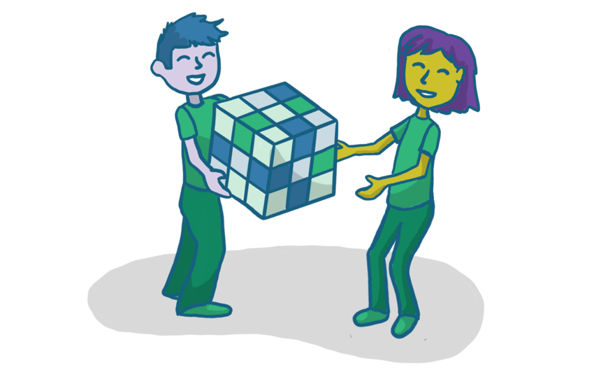 Drawing of one person handing a cube to another person