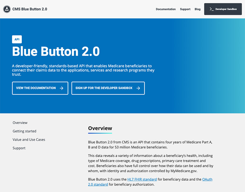 A screenshot of the Blue Button 2.0 home page.