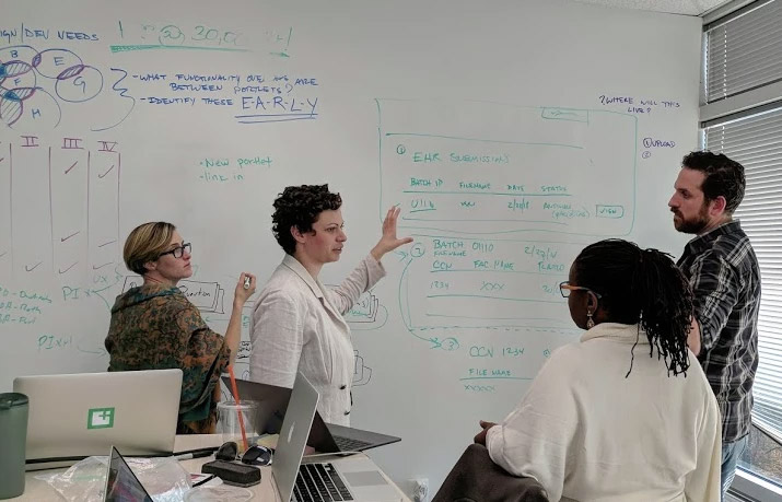 People from our research team collaborating during a whiteboard session