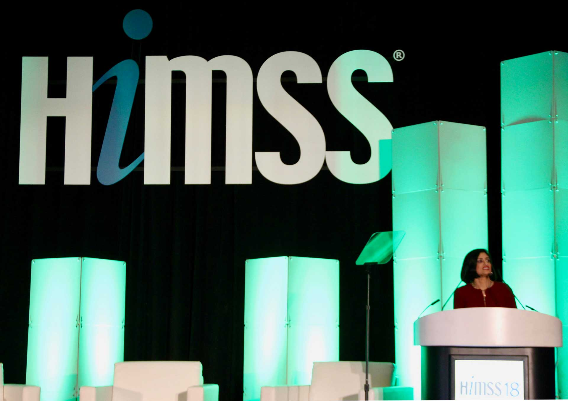 Photo of CMS Administrator Seema Verma speaking at HIMSS18.